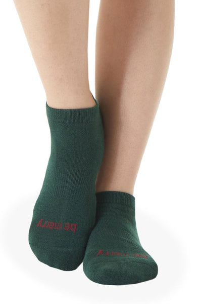 Be Merry Grip Socks - Hunter/Cranberry