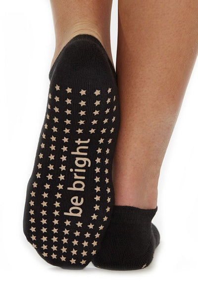 Be Bright Grip Socks - Black/Golden