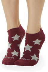 Be Naughty Be Nice Grip Socks - Cranberry/Grey