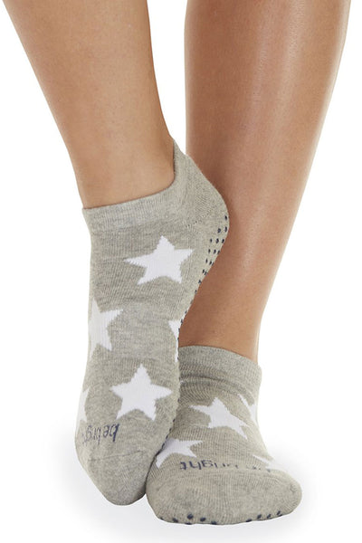 Be Bright Grip Socks - Heather Grey/White