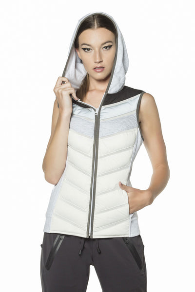 Blanc Noir Packable Moto Vest - Sculptique