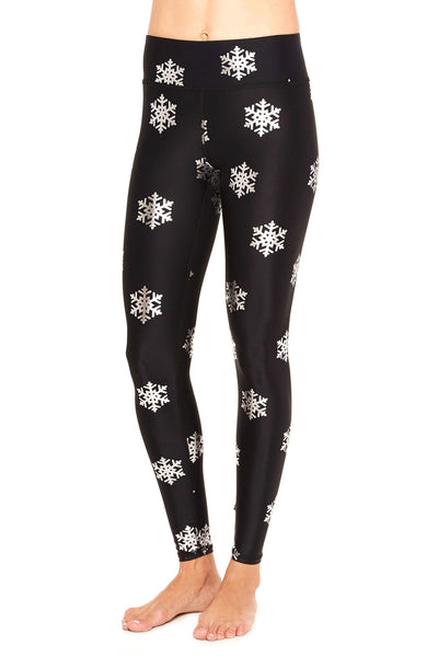 Foil Silver Snowflake Tall Band Legging