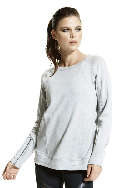 Vimmia Soothe Zip Sleeve Pullover - Light Heather Grey - Sculptique