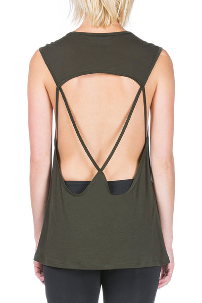 AURA SLEEVELESS TOP - Military Green