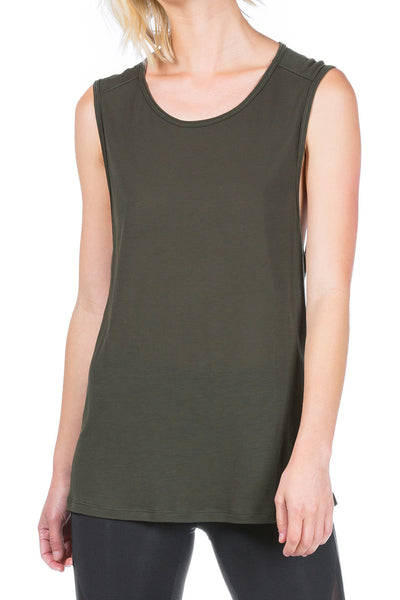 Koral AURA SLEEVELESS TOP - Military Green - Sculptique