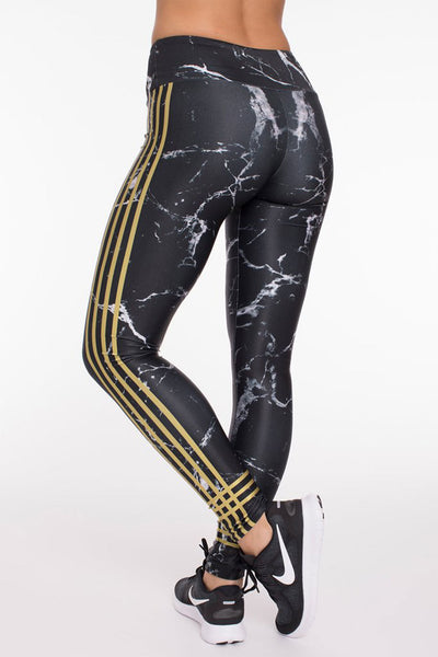 Goldsheep Black and Gold Marble Long Legging - Sculptique