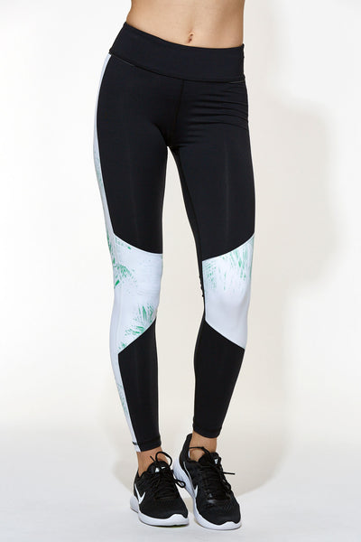 Blocked Ankle Tight - Black/Palm Print