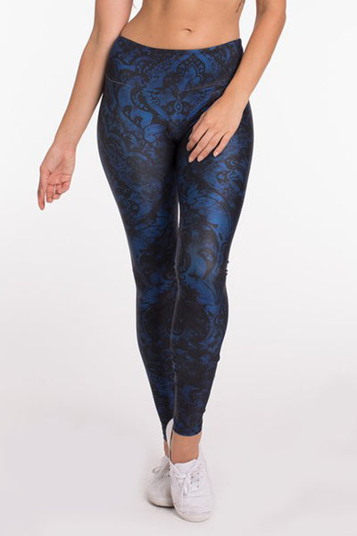 Goldsheep Blue Damask Long Legging - Sculptique