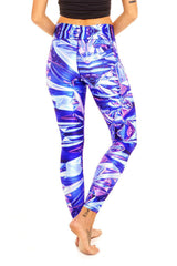 Terez Blue Hologram Tall Band Legging - Sculptique