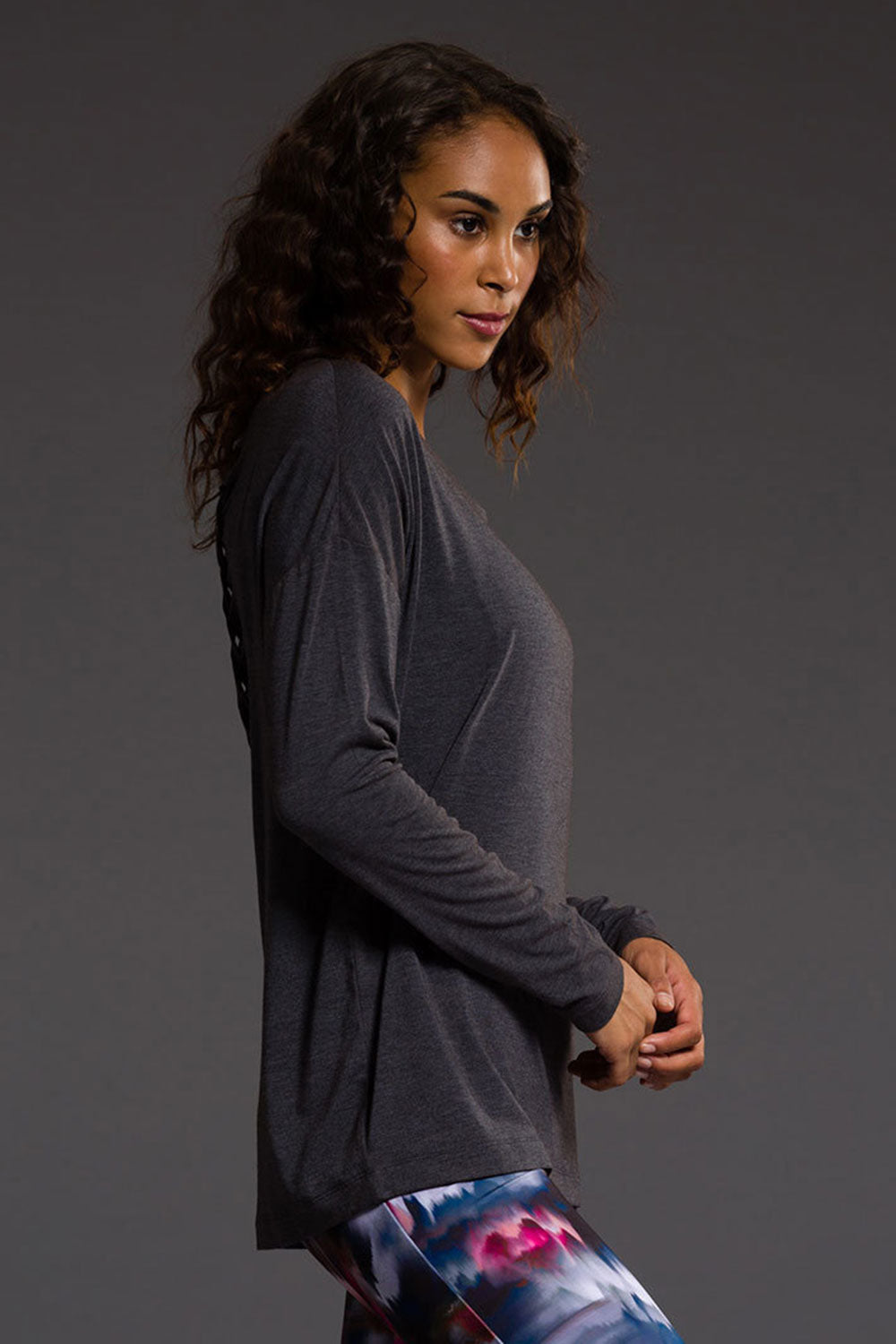 Onzie Braid Back Long Sleeve - Slate Grey - Sculptique