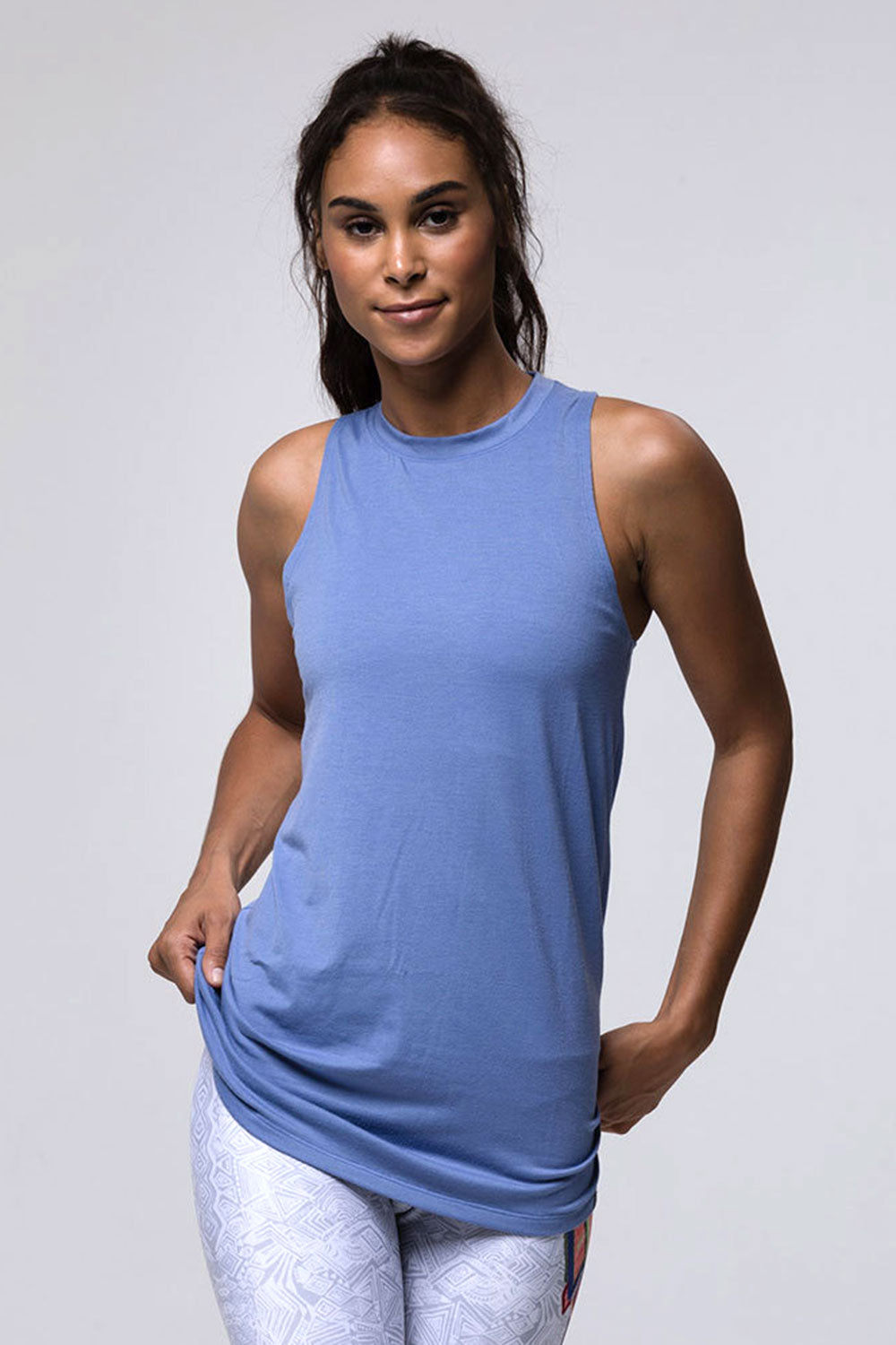 Onzie Braid Back Tank - Slate Blue - Sculptique