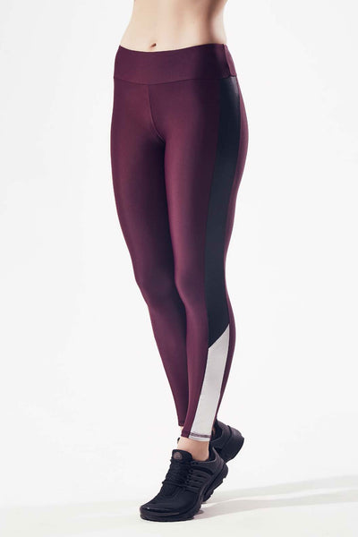 Deelan Side Block Legging - Maroon