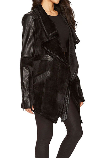 Blanc Noir Drape Velour Jacket - Sculptique