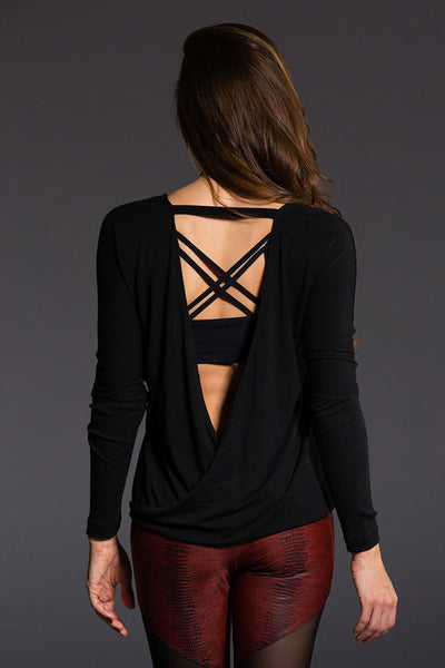 Drapey V Back Top - Black