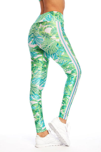 Green Stripe Palm Long Legging