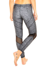 Terez Heathered Grey Mesh Performance Legging - Sculptique