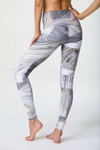 High Rise Graphic Legging - Marble Geo