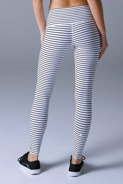 Glyder High Power Legging - White/Black Stripe - Sculptique