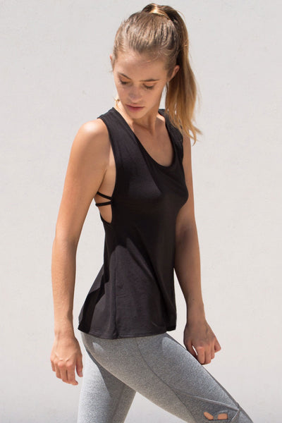 Track & Bliss Keyhole Strappy Tank - Grey - Sculptique