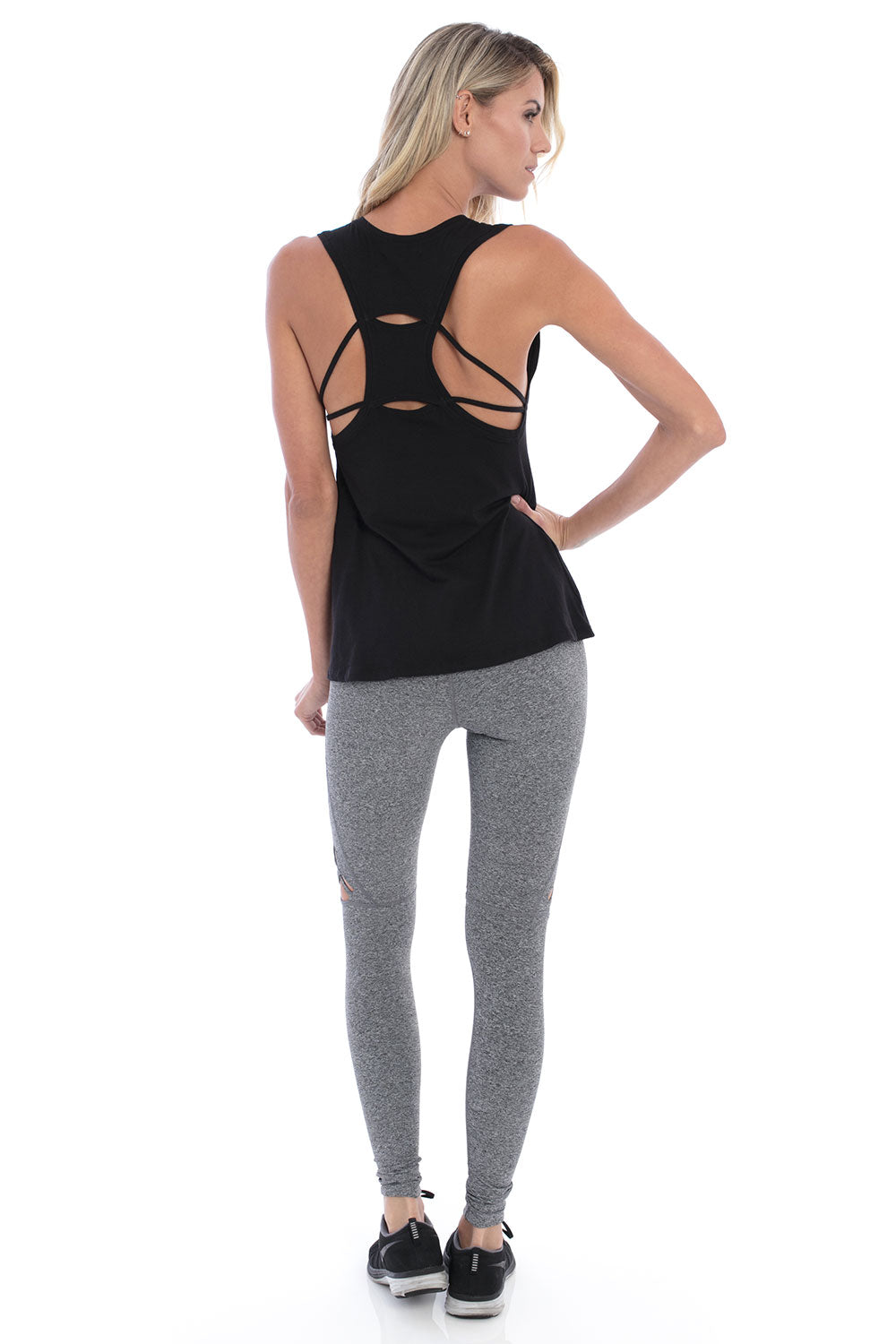 Track & Bliss Keyhole Strappy Tank - Black - Sculptique