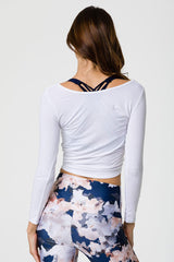Long Sleeve Knot Crop Top - White