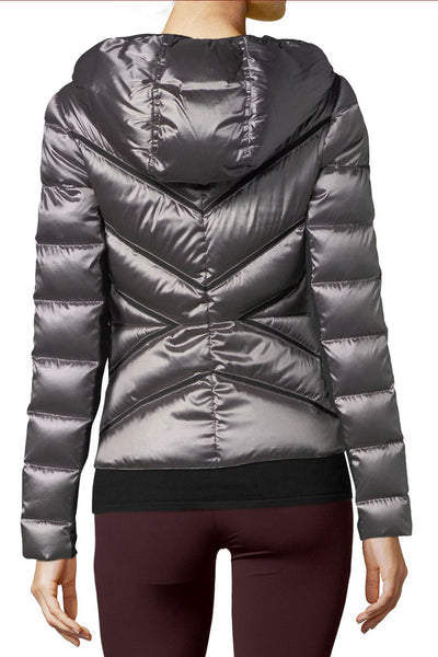 Blanc Noir Mesh Inset Hooded Jacket - Sculptique