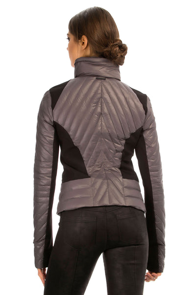 Blanc Noir Motion Panel Puffer - Gunmetal - Sculptique