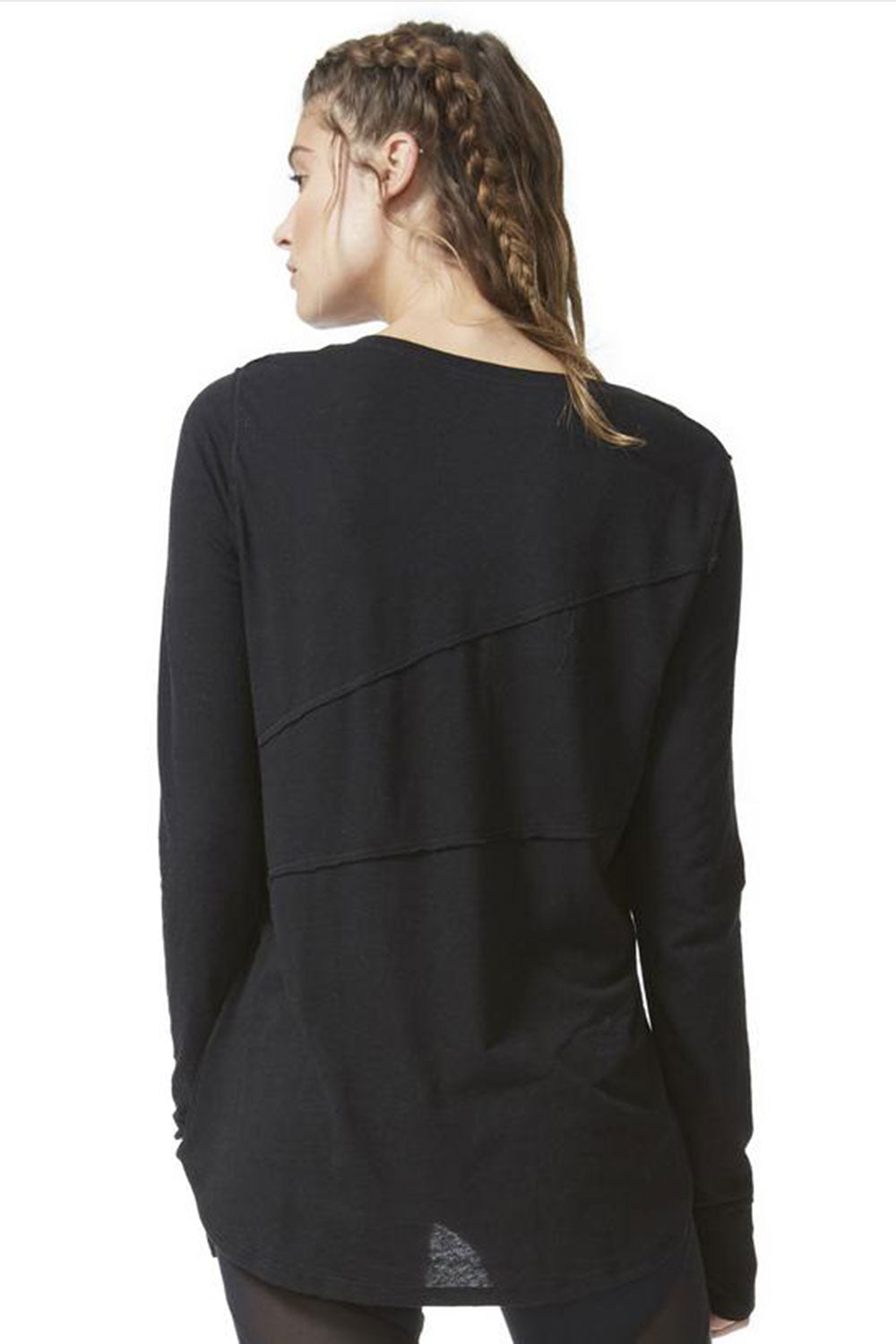 Pacific Seam Long Sleeve V Neck Top - Black