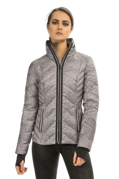 Puffer With Reflective Trim - Heather Grey