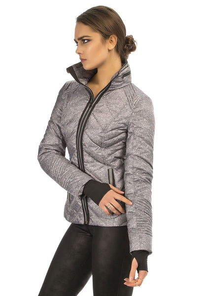 Blanc Noir Puffer With Reflective Trim - Heather Grey - Sculptique