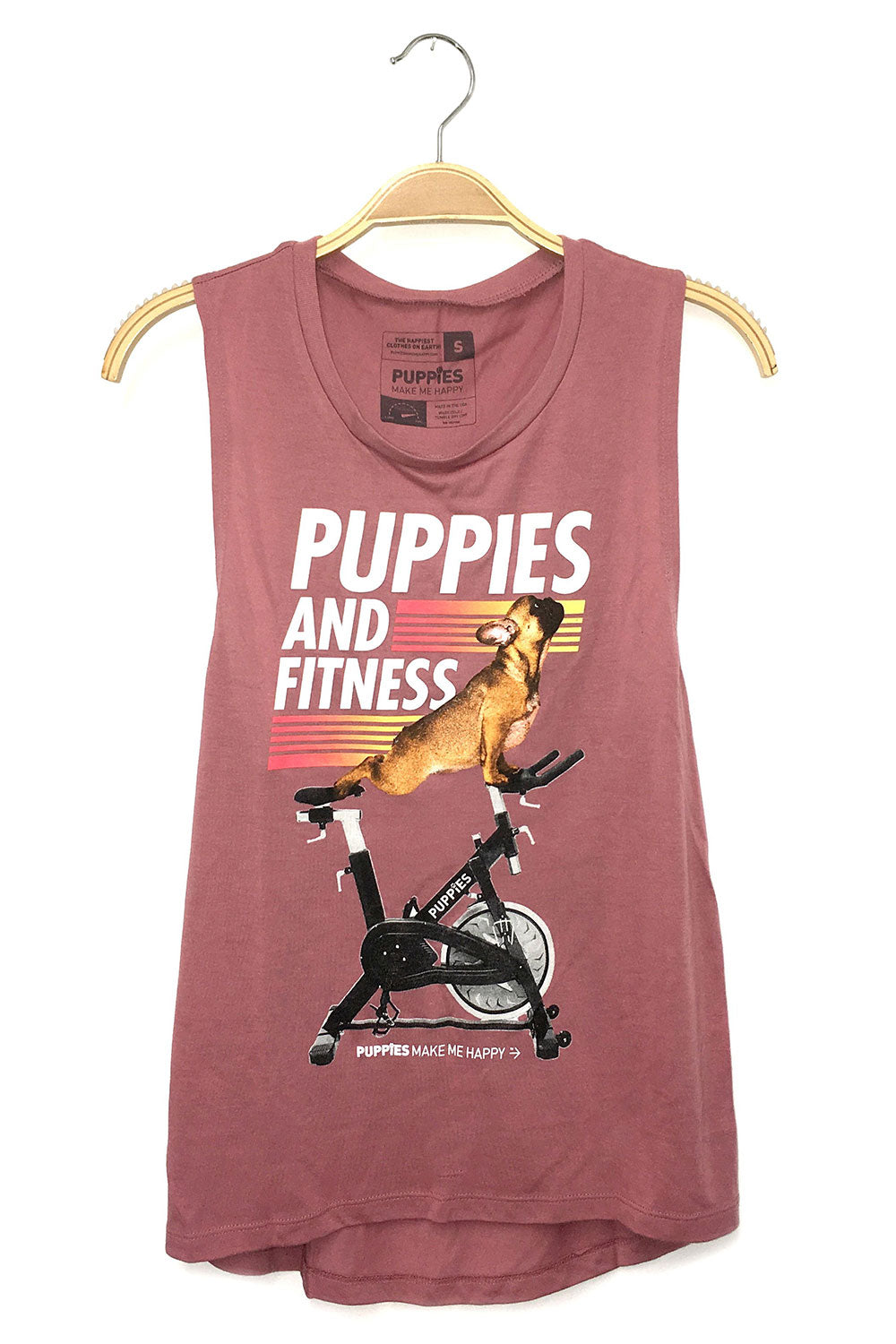Puppies Make Me Happy Puppies & Fitness Muscle Tank - Sculptique