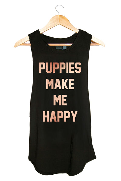 Rose Gold Puppies Sleeveless