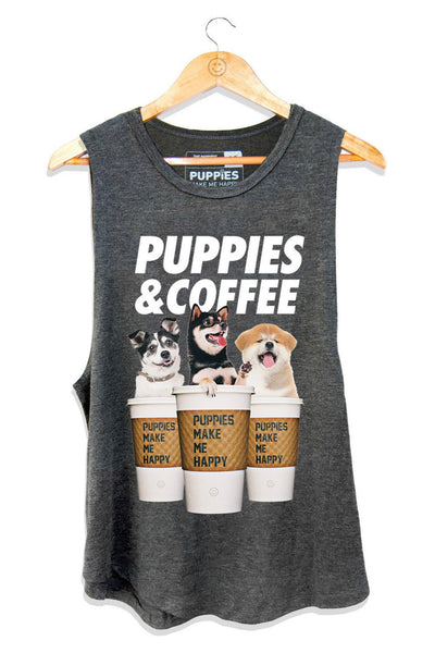 Puppies & Coffee Sleeveless - Charcoal