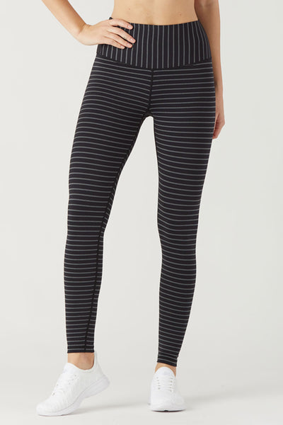 Sultry Legging - Black/White Metallic Stripe