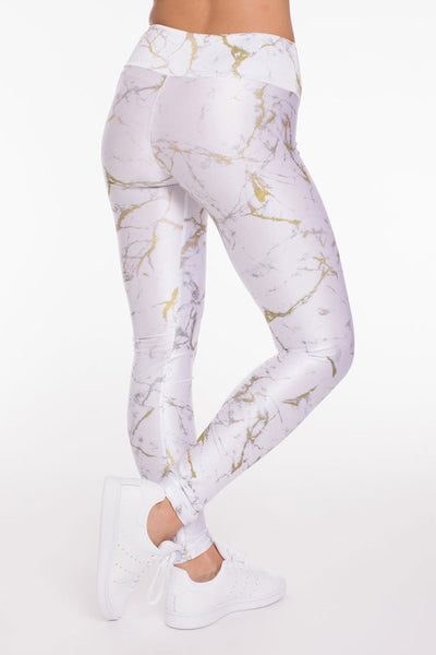 Goldsheep White and Gold Marble Long Legging - Sculptique