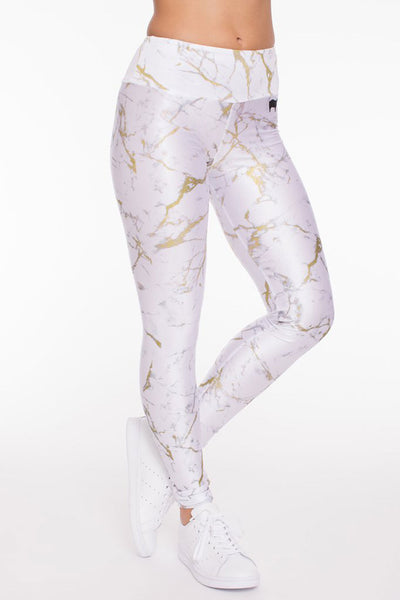 White and Gold Marble Long Legging