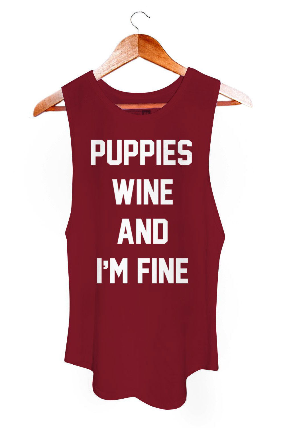Puppies Make Me Happy Puppies, Wine And I'm Fine Sleeveless - Sculptique