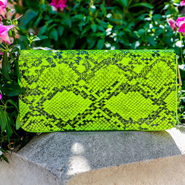 Neon Snakeskin Wallet-Yellow