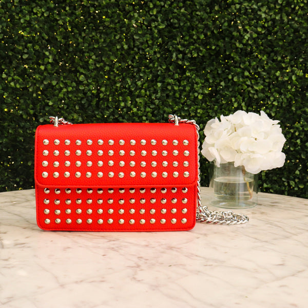 Studded Red Chain Bag