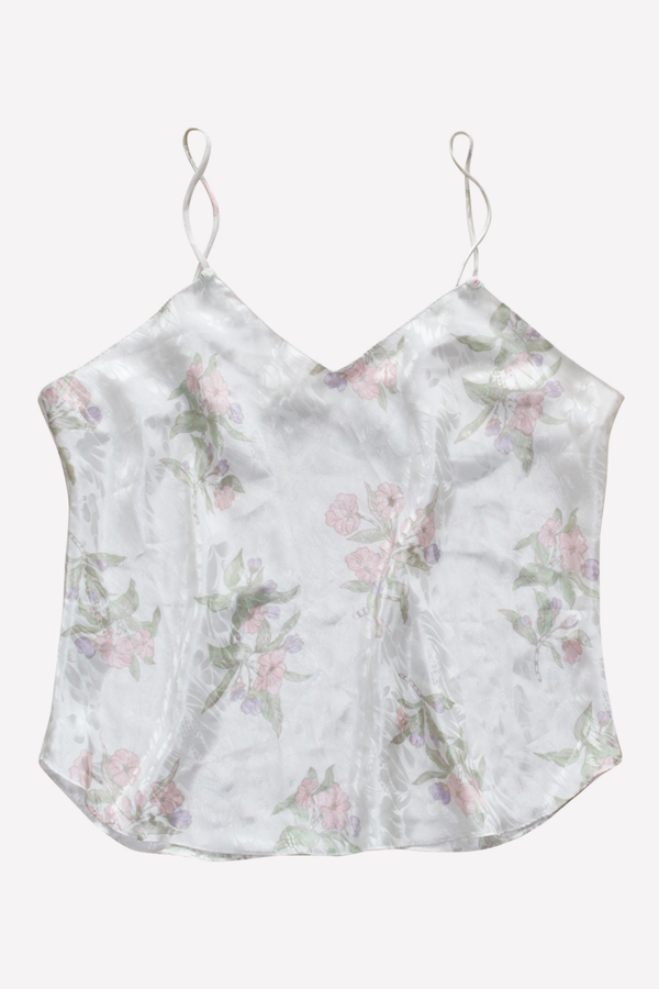 Veronica- White Floral Silk Top