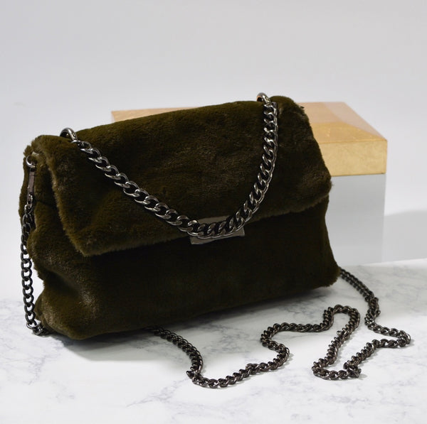 Francesca- Faux Fur Chain Bag