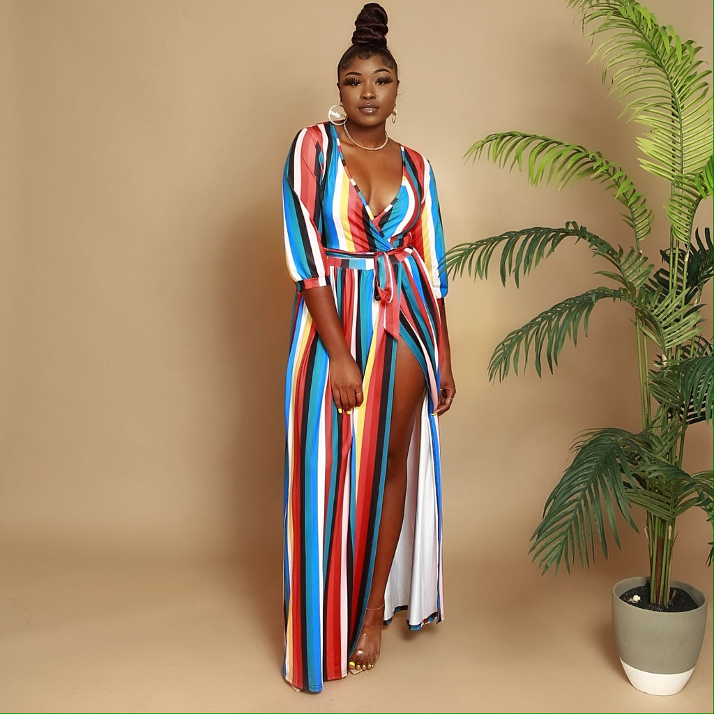Strip Multi Color Maxi Dress
