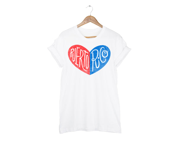 Puerto Rico Heart Unisex T-shirt by two string jane