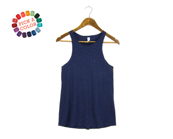 90s Tank: high-neck tank top in navy blue speckle by two string jane