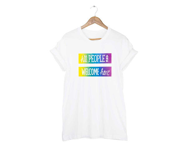 All People Are Welcome Here Unisex T-shirt by two string jane