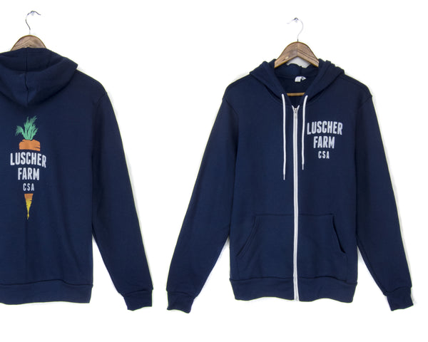 Luscher Farm CSA Navy zip hoodie sweatshirt by two string jane, front and back
