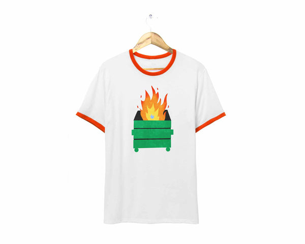 Dumpster Fire Retro Printed Ringer T-shirt in Orange and White by two string jane