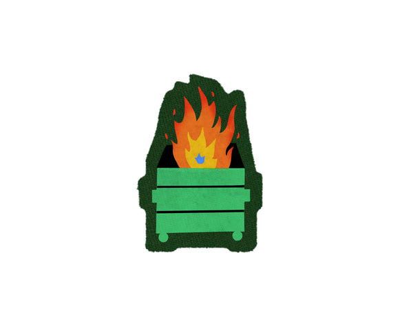 Dumpster Fire printed Patch in Green and Red Fire by two string jane