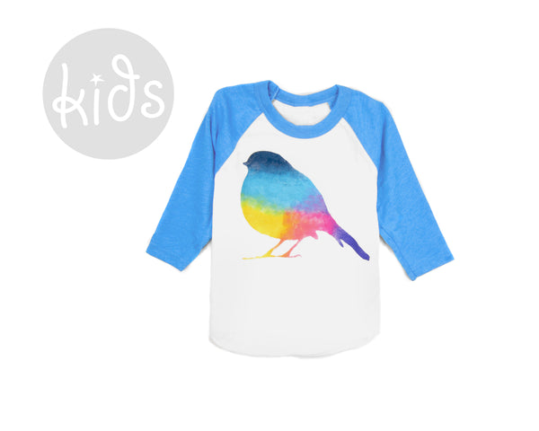 Rainbow Robin Raglan T-shirt by two string jane