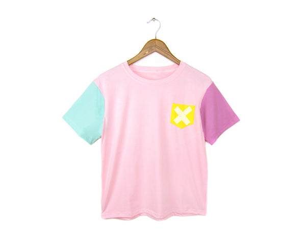 Cotton Candy Pocket Tee - Crew Neck Color Block Boxy Boyfriend Fit T-Shirt in Pastel Pink X - Women's XS/S M/L